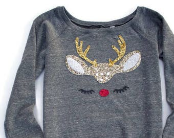 Not Your Ugly Christmas Sweater   Sequin Patch Reindeer Sweatshirt   Gift  for Women   Off the Shoulder Sweatshirt Women   Cute Shirt Women 96779c8a0