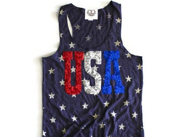 SEQUIN USA Star 4th of July Tank Shirt. 4th of July Shirt Womens. Stars Stripes. Fourth of July Shirt. America Tee. USA Tank. July 4th Tank