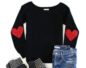 43321c53996a Valentines Shirt. Sequin Heart Elbow Patches. Sweatshirt. Valentines Day  Gift for Her. Women. Heart Sweater. Cute Top. Love Shirt. XOXO.