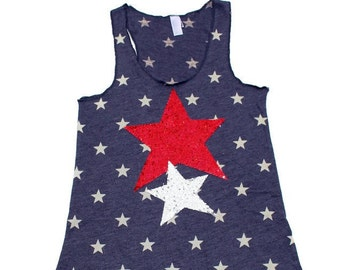 SEQUIN 4th of July Star Tank. Womens 4th of July Shirt Tank Tops. American Flag Shirt. Fourth of July. Red White and Blue. Star Tank. Stars