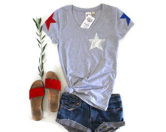 SEQUIN 4th of July Shirt. Stars and Stripes. Fourth of July Shirt. America Tee. USA Tank Top. American Flag. Red White Blue. Star T Shirt