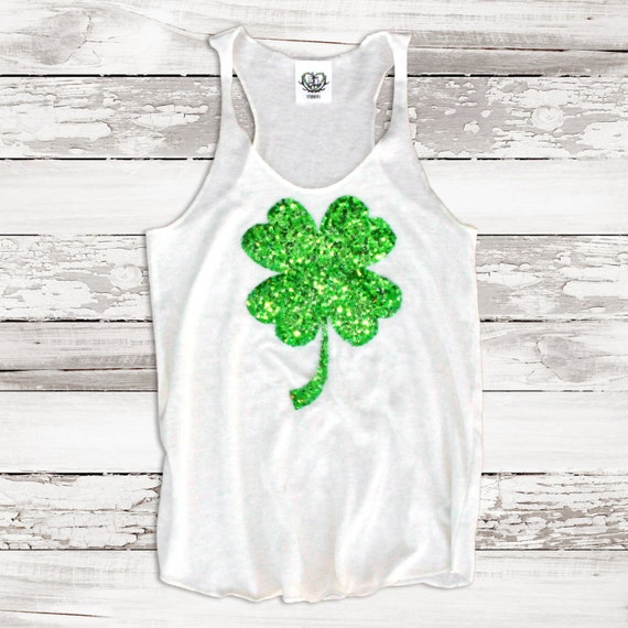 c03db8d7 Womens St Patricks Day Shirt. Tank. Sequin Shamrock. Four Leaf | Etsy