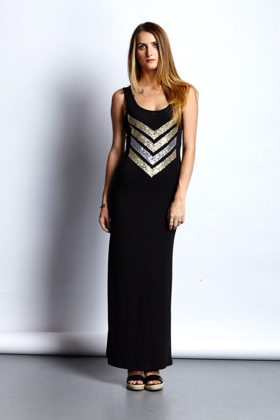 Little Black Dress Sequin Chevron Maxi Tank Dress Holiday Etsy