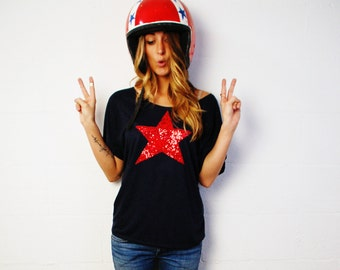 4th of July Star Shirt Women. American Flag Tee.  Sequin Star TShirt. USA  America Red White Blue. Fourth of July Womens Shirt Patriotic