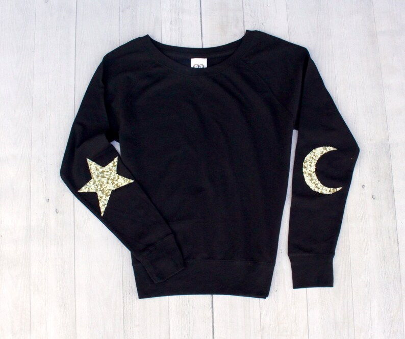 b81dfb790821 Sequin Top Star Moon Elbow Patch Black Sweatshirt Holiday