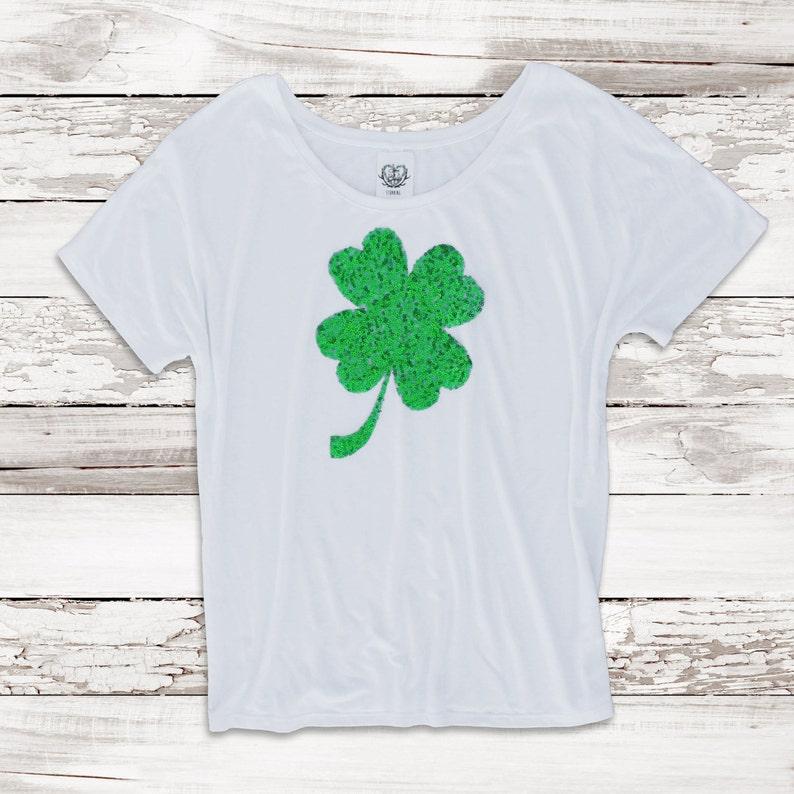 a0f71f13e00 St Patricks Day Tee T Shirt. Sequin Shamrock Patch . Womens