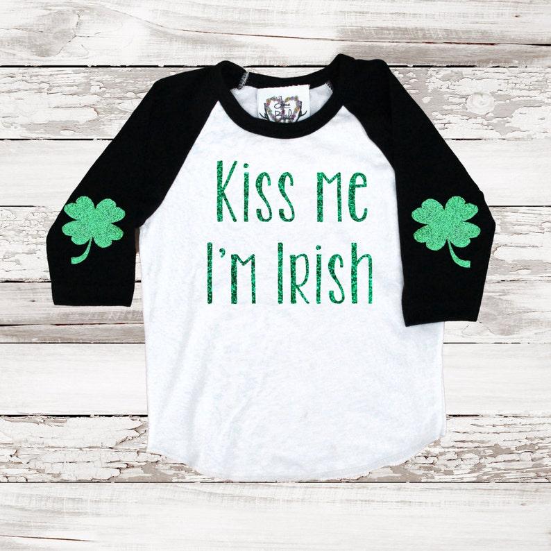 f0f04a0e9 SALE St Patricks Day Shamrock Baseball Tee Shirt Kiss Me Im | Etsy