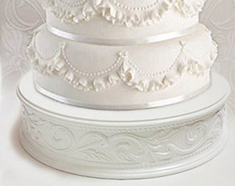 17 inch Cake Stand with White Embossed Design