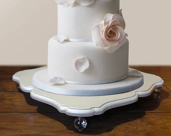 Decorative pearl color wedding cake stand or serving tray