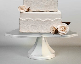 Shabby chic wedding cake stand pedestal handcrafted item