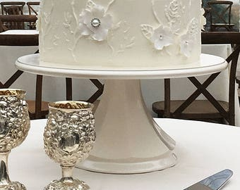Wedding cake stand classic white pearl pedestal