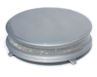 14 inch Silver Diamond Bling Cake Stand