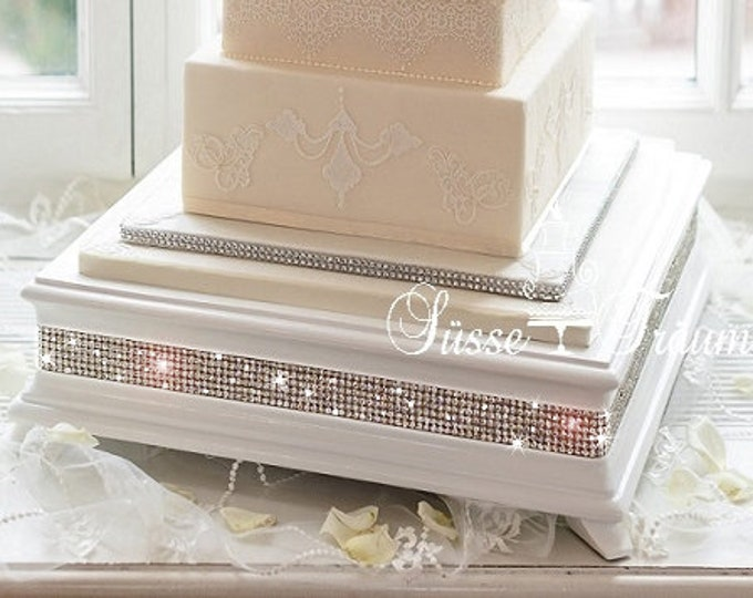 14 inch Square White Diamond Cake Stand