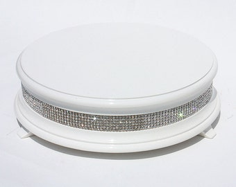22 inch White Diamond Bling Wedding Cake Stand