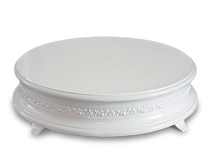 """18"""" gloss white wedding cake stand with delicate floral pattern"""