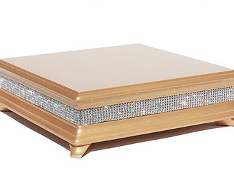 18 inch Square Gold Diamond Bling Wedding Cake Stand