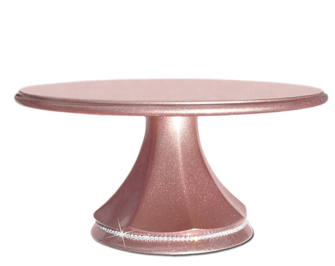 """Rose gold wedding cake stand pedestal with crystal band available in 14"""", 16"""", or 18"""" sizes"""