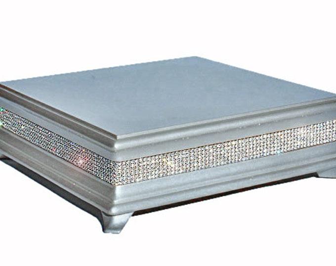 14 inch Square Silver Diamond Cake Stand