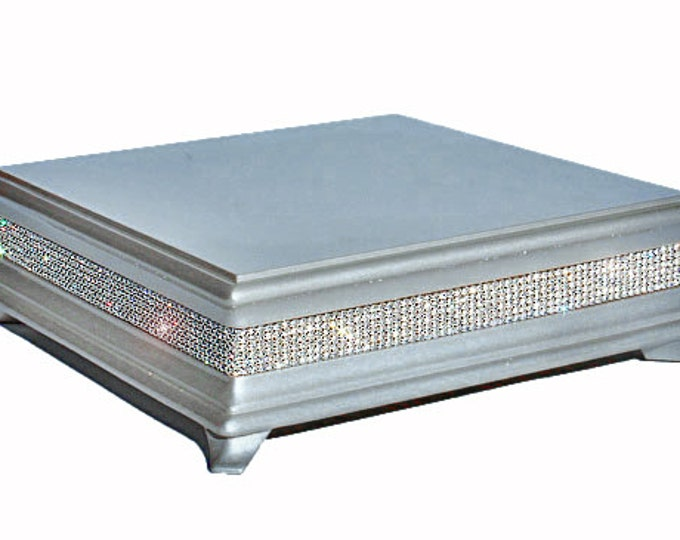 18 inch Square Silver Diamond Bling Wedding Cake Stand