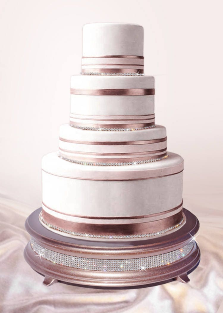18 rose gold wedding cake stand with crystal band of bling