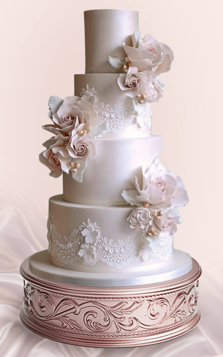 rose gold wedding cake 17 gold wedding cake stand with scrolling embossed sides 7119