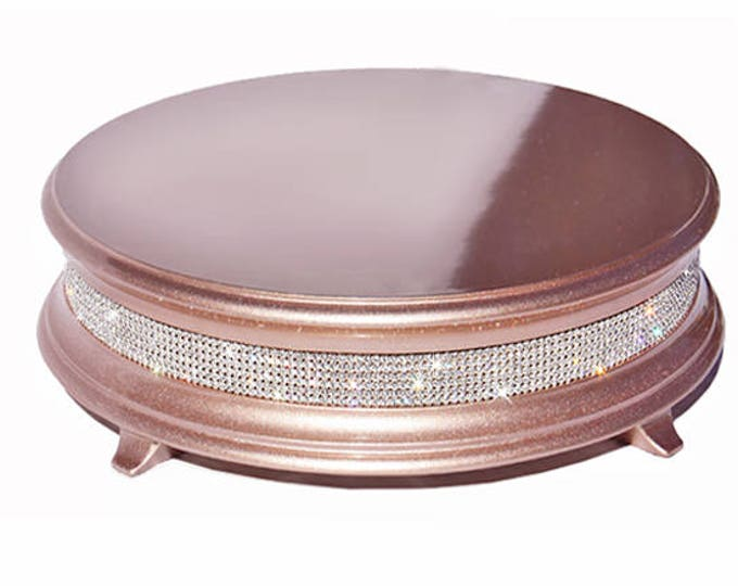 """18"""" rose gold wedding cake stand with crystal band of bling"""