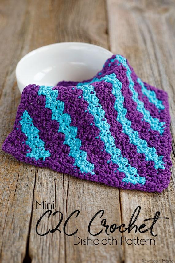 Mini C2c Corner To Corner Stripe Crochet Dishcloth Etsy