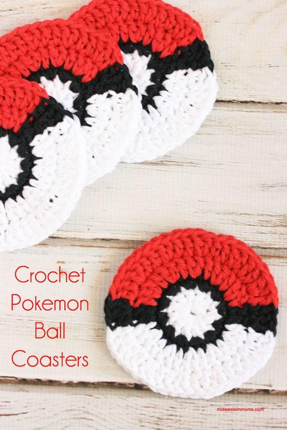 Crochet Coasters Pokemon Go Pokeball Crochet Pattern Crochet Etsy
