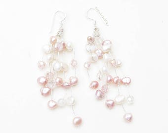White pink freshwater pearl earrings with crystal, bridal, dangle - sterling silver ear wires