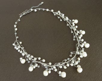 White freshwater pearl dangle necklace with crystal on silk thread, elegant necklace