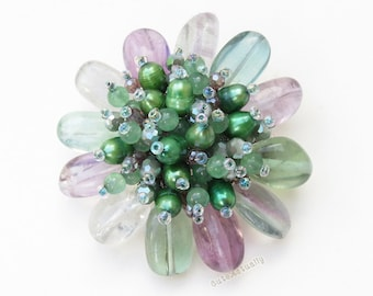 Fluorite stone flower brooch with freshwater pearl, crystal , glass beads, flower pin, summer accessories