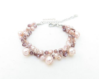 Pink peach freshwater pearl bracelet with crystal on silk thread