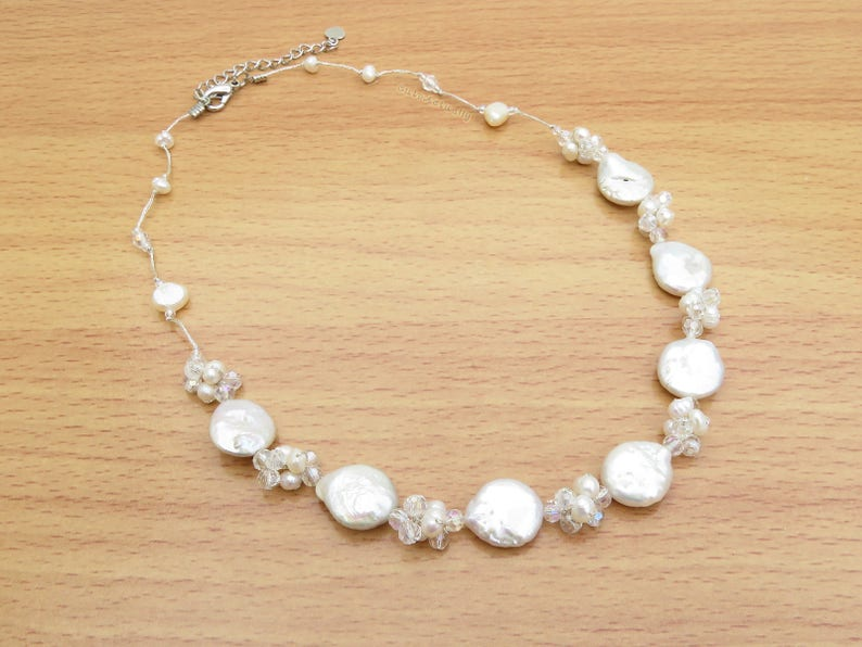 3270511ca7127 White freshwater pearl necklace - Flat Round (Coin Shape), bridal, silk  thread, wedding