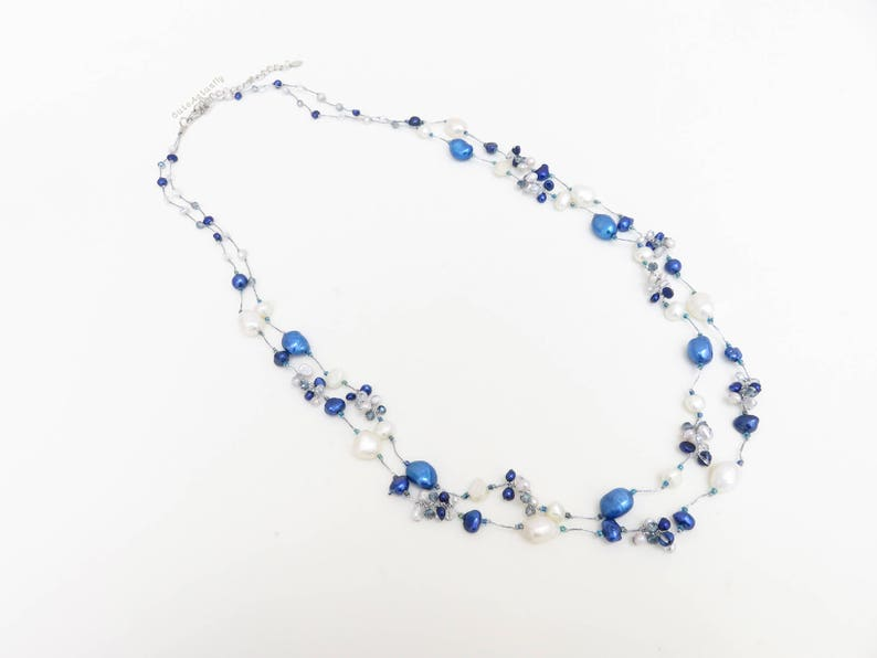 Blue White Freshwater Pearl Necklace With Crystal On Silk Thread Dark Blue Royal Blue Double Strands Necklace Long Necklace