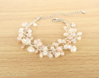 White and peach freshwater pearl bracelet with crystal and stone on silk thread, white, pink, peach