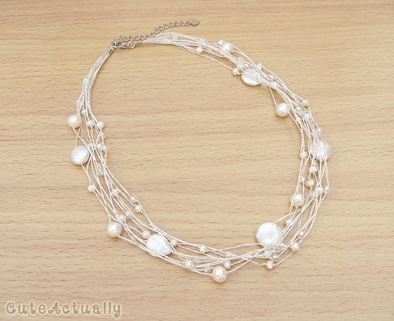 b529aef486406 White freshwater pearl necklace on silk thread, bridal jewelry,  Multistrands, short, bridal jewelry, wedding jewelry, coin pearl necklace