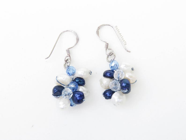 Navy Blue White Freshwater Pearl Earrings With Crystal On Silk Thread Sterling Silver Ear Wires Dark Blue