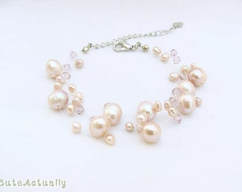 Peach freshwater pearl bracelet with crystal on invisible thread, wedding jewelry