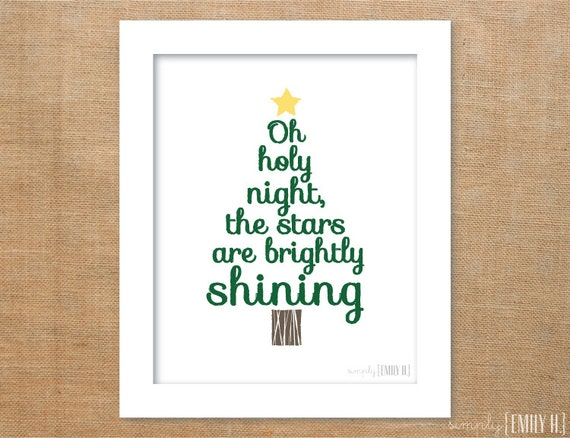 PRINTABLE Christmas Tree Oh Holy Night Subway Art