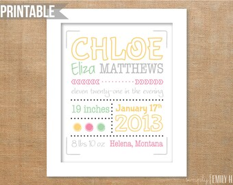 PRINTABLE Personalized Birth Announcement Subway Art 8x10- Any Colors