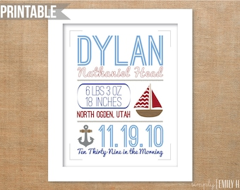 PRINTABLE Personalized Nautical Birth Announcement Typography 8x10- Any Colors