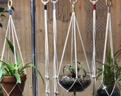 Mother 39 s Day garden gift idea Macrame plant hanger with a touch of color - measures about 30 quot long