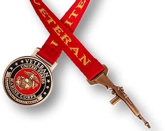 Marine Veteran Bookmark with 10 Inch Ribbon