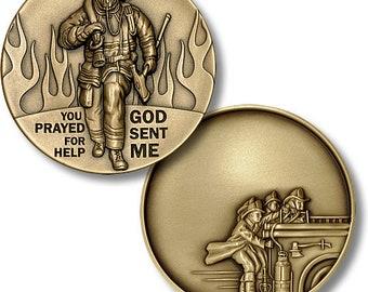 God Sent Me – Firemen /  Firefighter Challenge Coin