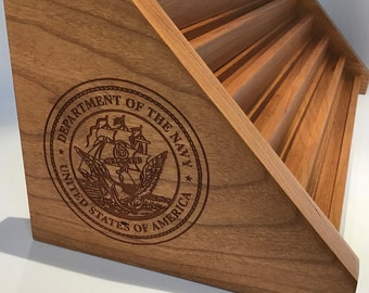 Etched NAVY Natural Cherry Challenge Coin Holder Holds 44 - 54 Coins