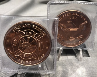 Fire and Rescue First Responders Fire Dept.   1  Ounce  .999 Fine Copper Coin