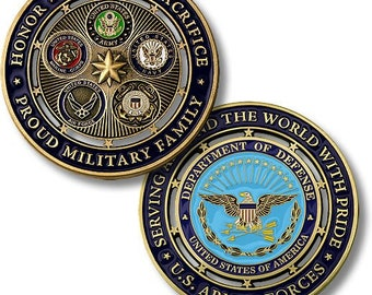 Proud Military Family Department of Defense U.S. Armed Forces  Challenge Coin