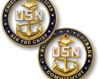 Chief Petty Officer CPO Ask The CHIEF  U.S. Navy Challenge Coin