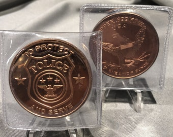 POLICE To Protect and Serve    1  Ounce  .999 Fine Copper Coin