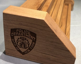 Natural Cherry NYPD City of New York Police Department Coin Display Holder for 7-9 Coins